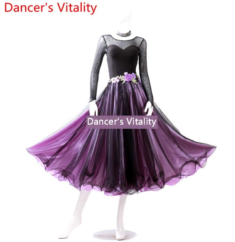 2018 nouvelles femmes danse robe femmes salle de bal performance danse robe dames danse compétition robe valse