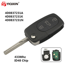 YIQIXIN 3 Button Flip Folding Remote Car Key For Audi 4D0837231A 4D0837231K 4D0837231N ID48 Chip For A3 A4 A6 A8 TT Old Models