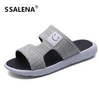 Men Open Toe Beach Slippers Non Slip Summer Massage Slippers Men Denim Cloth Comfortable Male Flats Shoes AA40394