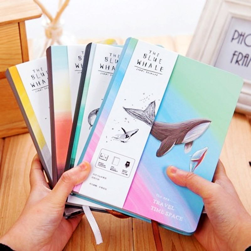 Creative Trend Notebook Bule Whale Diary Book Hardcover Diary Color Pages Blank A5 Planner Korea Stationery School Supplies Gift creative trend dolphin notebook a5 color inside page note book sketch book graffiti diy diary japanese stationery