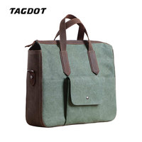 Tagdot brand Artcraft Retro Canvas Laptop bag 14 13.3 inch messenger shoulder Men Notebook bag Genuine Leather Accessories 2018