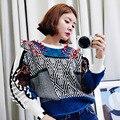 [Soonyour] 2017 otoño invierno casual suéteres Nuevo Patrón Conciso Diseño de la Armadura de Color Dividida Cuello Redondo Suéter Largo mujeres AL3105