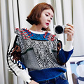[soonyour] 2017 autumn winter casual pullovers New Pattern Concise Round Neck Color Split Weave Design Long Sweater women AL3105