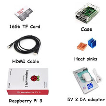 Raspberry Pi Kit 16 Gb TF Tarjeta + Raspberry Pi 3 modelo B + 5 V 2.5A adaptador de Corriente + cable HDMI + disipador de Calor + Caso(China (Mainland))