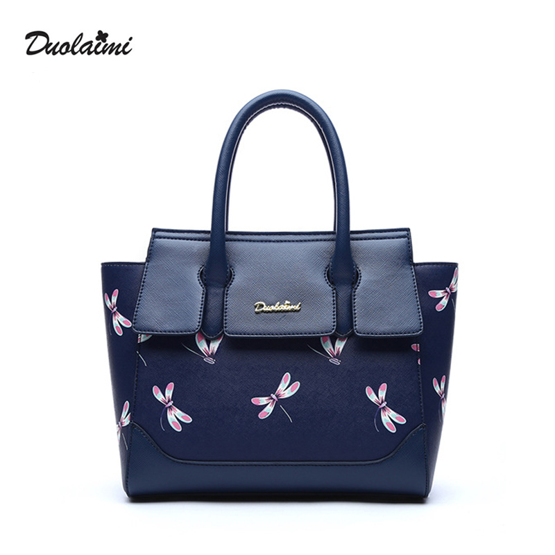 DouLaiMi 2017 Fashion Women PU Leather Handbag Blue Dragonfly Print Crossbody Ba