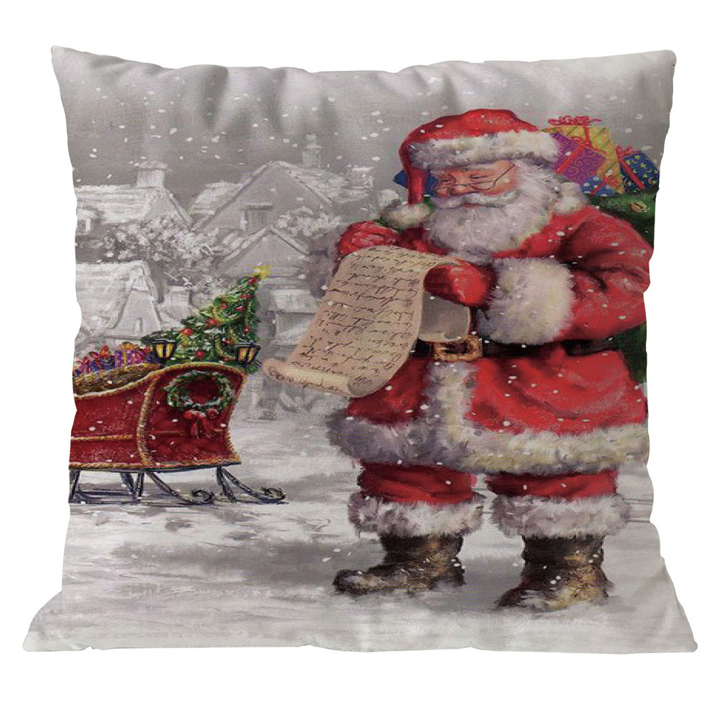 Christmas Xmas Linen Cushion Cover Throw Pillow Case Home: Santa Claus Christmas Pillow Case Cotton Linen Christmas