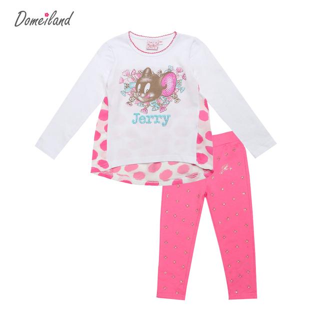 2017 moda marca domeiland Crianças outfits conjuntos de roupas crianças da menina do algodão bonito jerry Dos Desenhos Animados camisas de manga longa fatos de calça