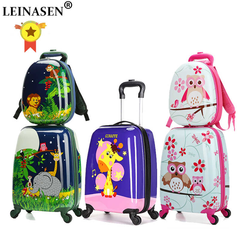 "18"" carry-on Suitcase with wheels kids Spinner luggage travel Rolling Luggage trolley bags child1en's suitcases Rod Box Animal"