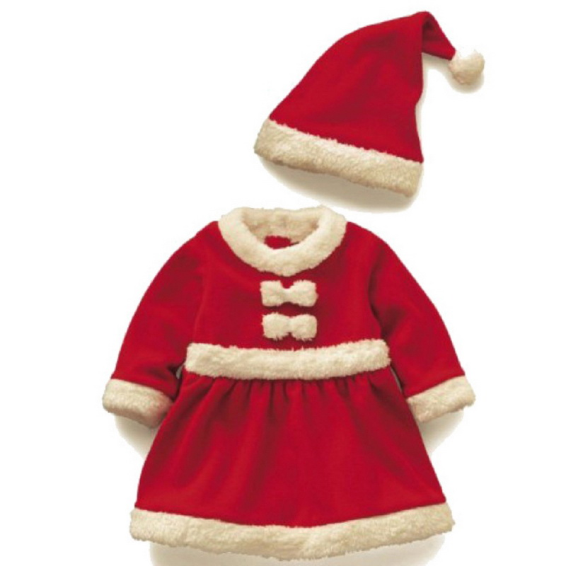 1Set Cute Christmas Sets for Girls Xmas Santa Claus Costume Set for Baby with Hat for 2-4 Years Old Girls giant 6m 20ft tall outdoor inflatable santa claus christmas decor inflatable santa claus figure with lighting n bag for xmas