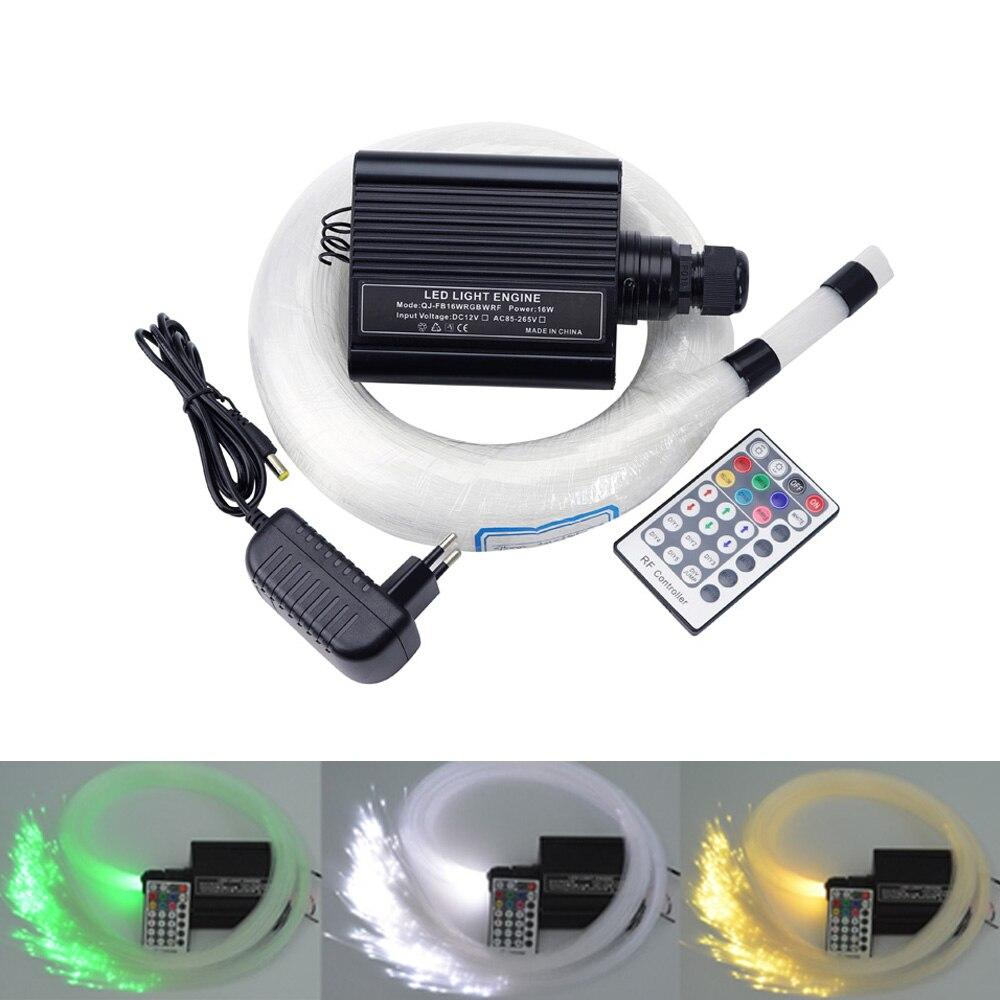 16W RGBW LED Fiber Optic Star sky Ceiling Kit lights (0.75+1.0+2mm) 310 strands 4M optical fiber with 28key RF remote цена и фото