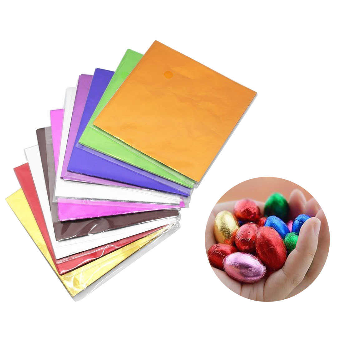 DIY Food Aluminum Foils Paper Chocolate Candy Packaging 100pcs 8x8CM 12 Colors Party Birthday Wrapper Tin Paper