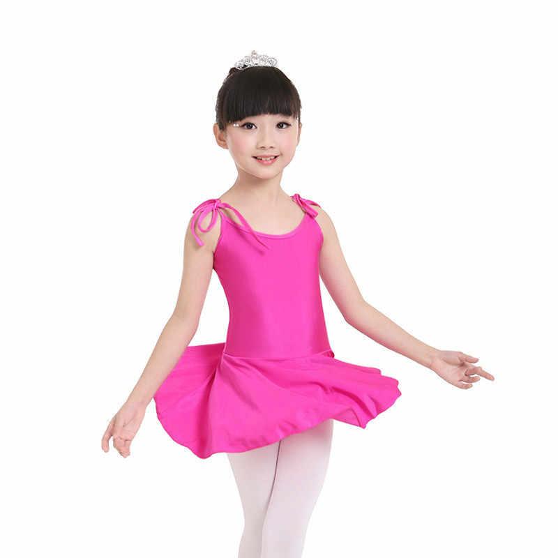 Ballerine gymnastique justaucorps pour filles ballet enfants compétition sans manches danse lycra enfants robes de danse jupe robe costume