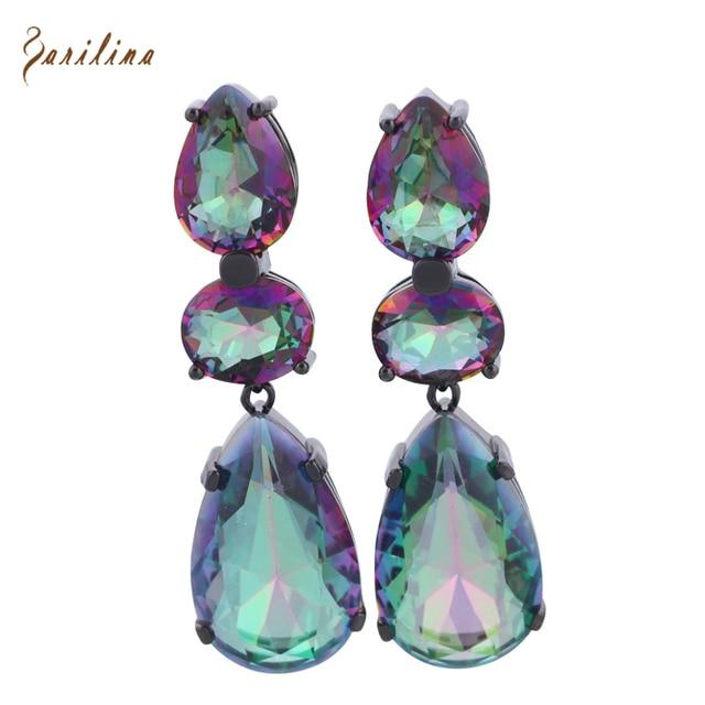 Latest Design Brand Rainbow Mystic Cubic Zirconia black gun plated dangle earrings for women fashion Cute jewelry E001