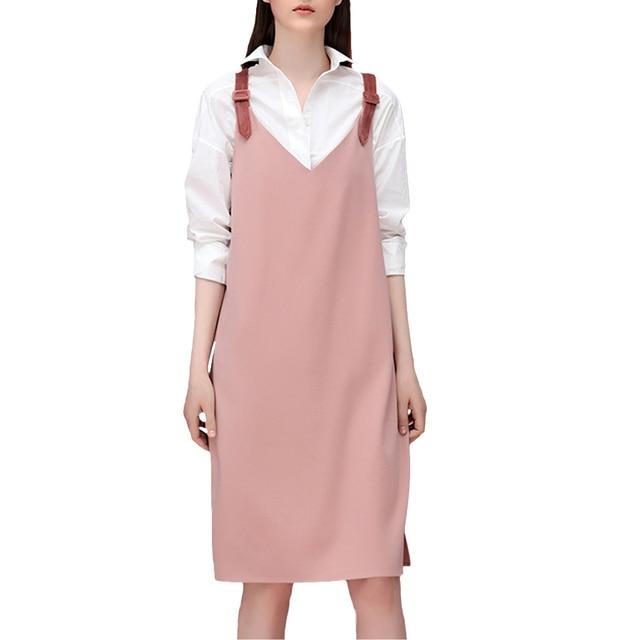 Womens Elegant V Neck Side Slit Braces Midi Wear to Work Dress