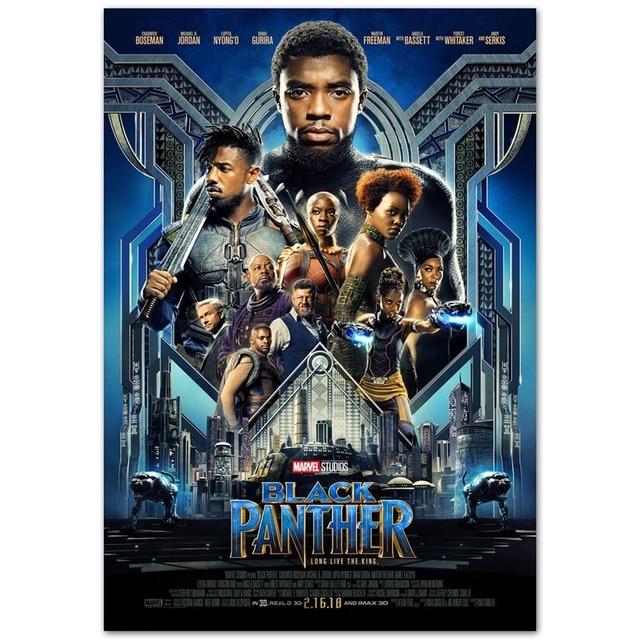 C028 negro Panther 2018 Marvel nueva película superior A4 arte seda ...