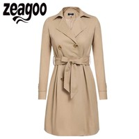 2017 Women Trench Coat Casual Turn Down Collar Long Sleeve Spring Autumn Long Coat Double Breasted