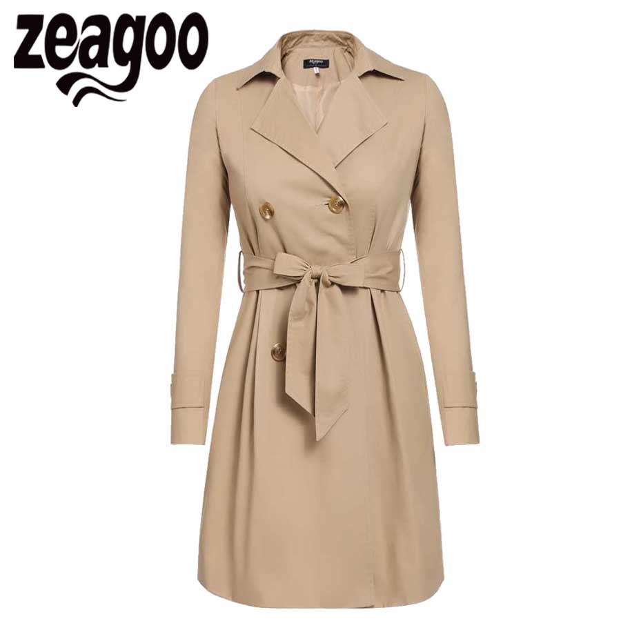 2017 Women Trench Coat Casual Turn-down Collar Long Sleeve Spring Autumn Long Coat Double Breasted Windbreaker Coat 2 Color ...