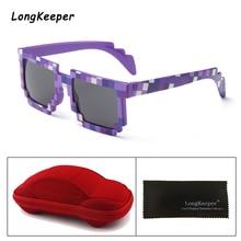 Child Sunglasses Boys Girls Smaller Size Mosaic Pixel Kids Sun Glasses Childrens With Case PC Frame Eyewears UV400