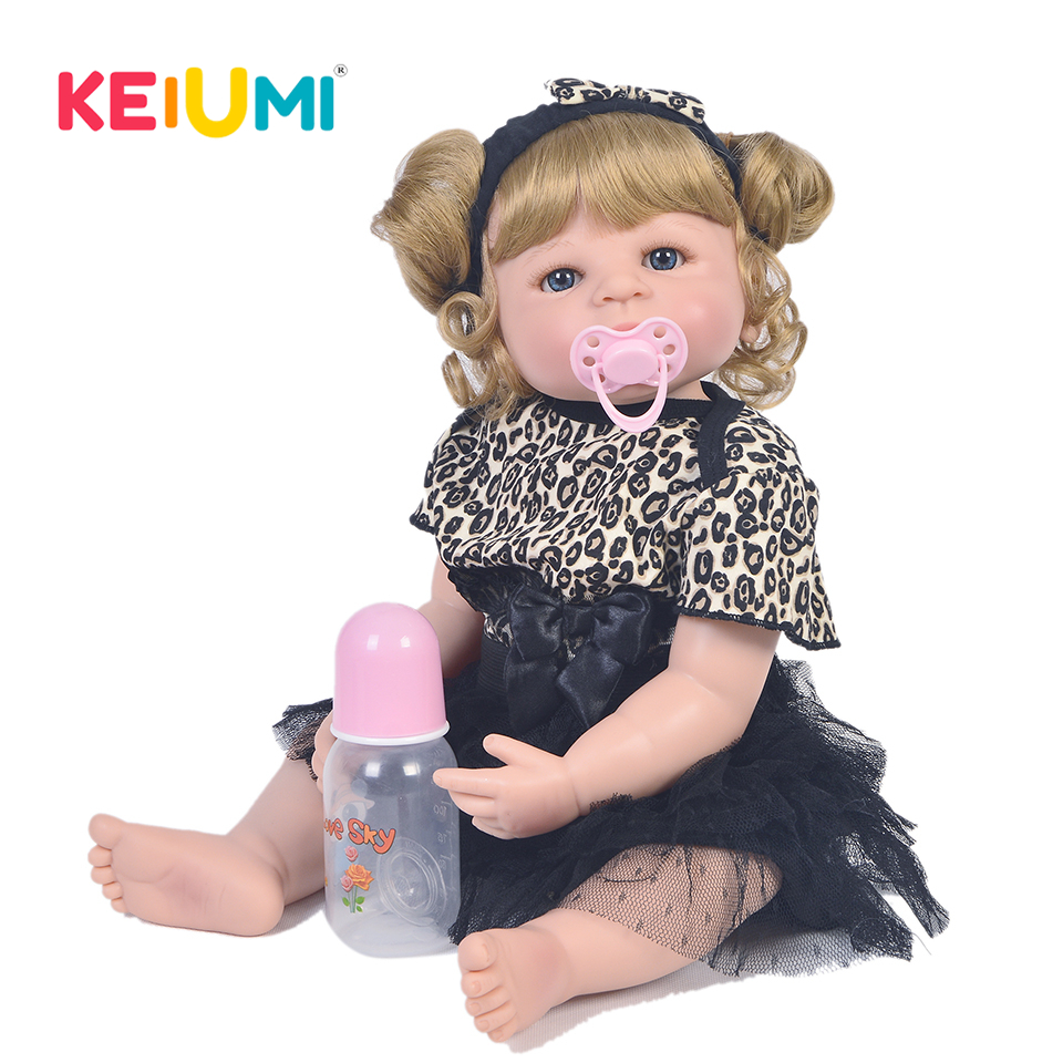 KEIUMI Handmade Reborn Baby Girl Doll Full Silicone Body Vinyl 23'' 57 cm Bebe Alive Princess Doll Child Birthday Gift Play Toy keiumi 23 babies girl reborn baby doll full body silicone vinyl realistic 57 cm princess new born boneca reborn boneca gifts