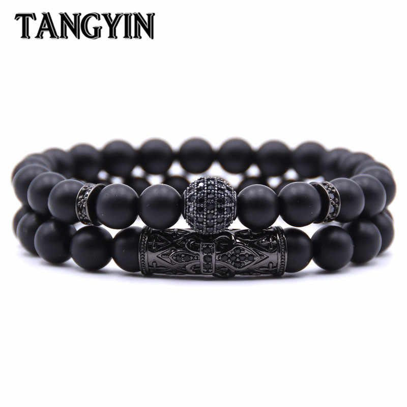 Quality Men Set Bracelet Fashion Men Homme Jewelry 8MM Natural Stone Gold Silver Micro-inlaid Zircon CZ Ball Beaded Bracelets