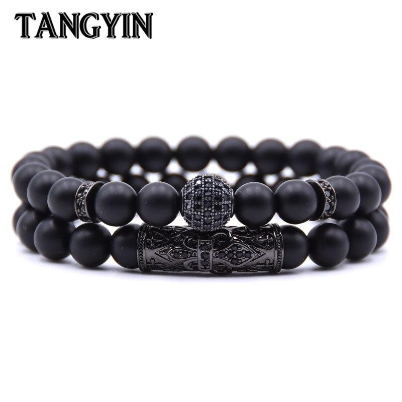 Qualité hommes ensemble Bracelet mode hommes Homme bijoux 8 MM pierre naturelle or argent Micro-incrusté Zircon CZ balle Bracelets perlés