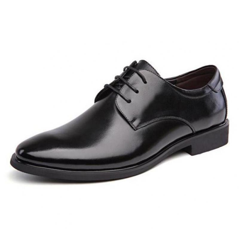 Black Business Dress Oxford Shoes For Men Pointed Toe Leather Mens Shoes Lace Up Chaussure Homme