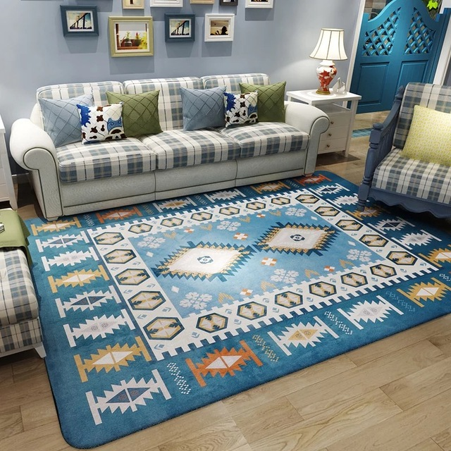 180x120cm Mediterranean Style Plaid Area Rug for Home Bedroom Living ...