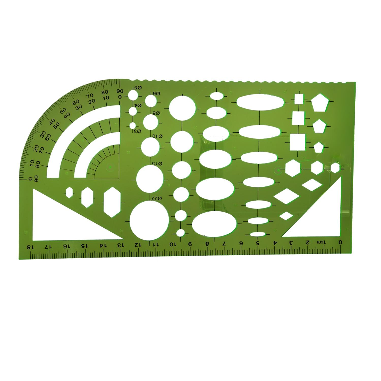 HOT-Tactics Template Template Ruler Plastic Protractor Student Clear Green