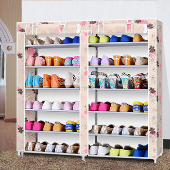 Modern minimalist fashion fresh creative non-woven double row shoes organizer shoes cabinet closet storage assembly shoes rack