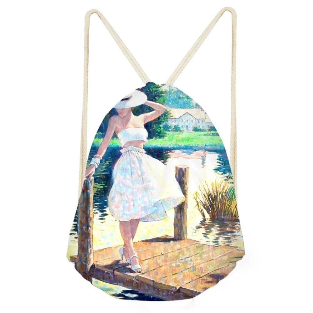 Van Gogh Oil Painting Drawstring Bag Monet For Women Fashion Summer Travel Shoulder Bag Small Kids Girls Backpack Mochila Shoes