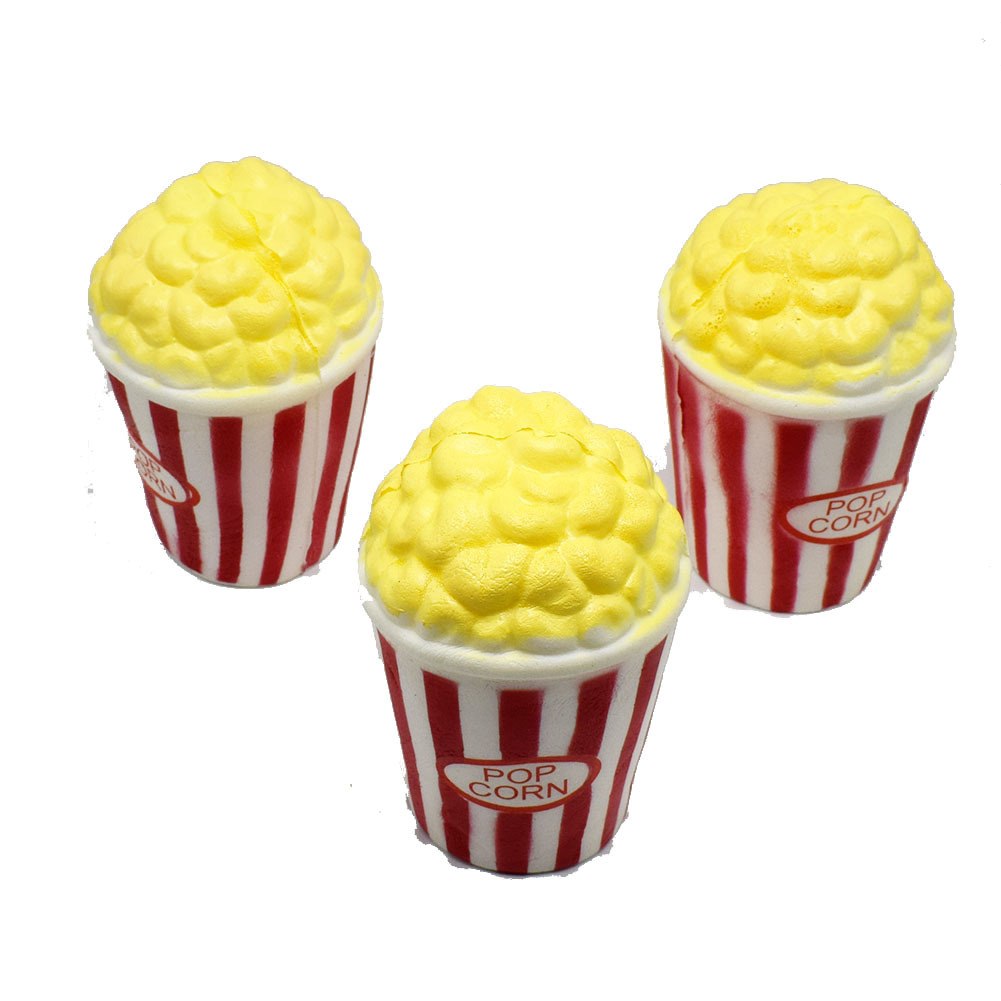 Soft Kawaii Squishy Popcorn Slow Rising Adult Kid AntiStress Toy Squeeze Fun Toy Simulation Decor Squishy Charm Phone Strap