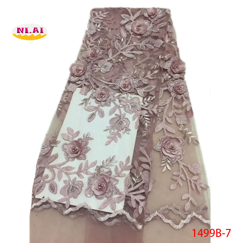 New Arrival 2018 High Quality French Lace With Beads Pink African Net Lace Fabric With 3D