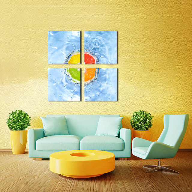 4 Picture Combination Wall Art The Orange fall into water of Painting the Canvas Printings For Home Dining room Wall Decoration-in Painting & ...