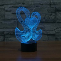 Double Goose With heart Led light Novelty Gifts For table Lamp