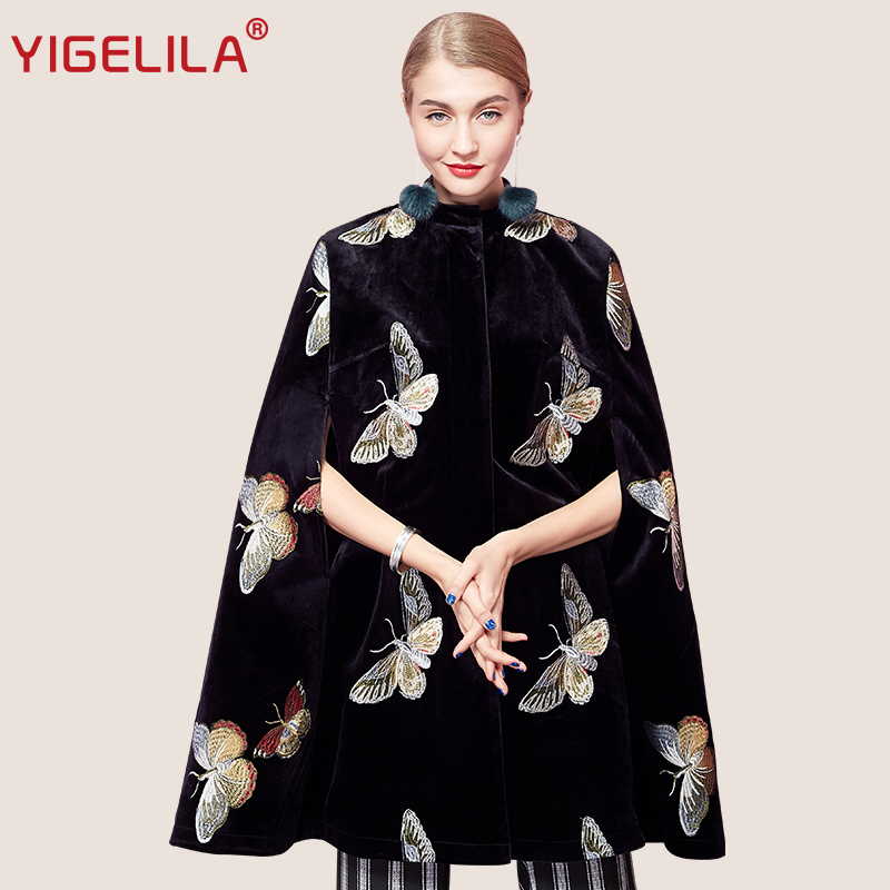 YIGELILA Latest Autumn Women Vintage Black Velvet Butterfly Embroidery O-neck Single Breasted Cape Coat Poncho Cloak 93740