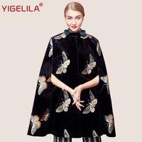 YIGELILA Latest Autumn Women Vintage Black Velvet Butterfly Embroidery O-neck Single Breasted Cape Coat Poncho Cloak 93740