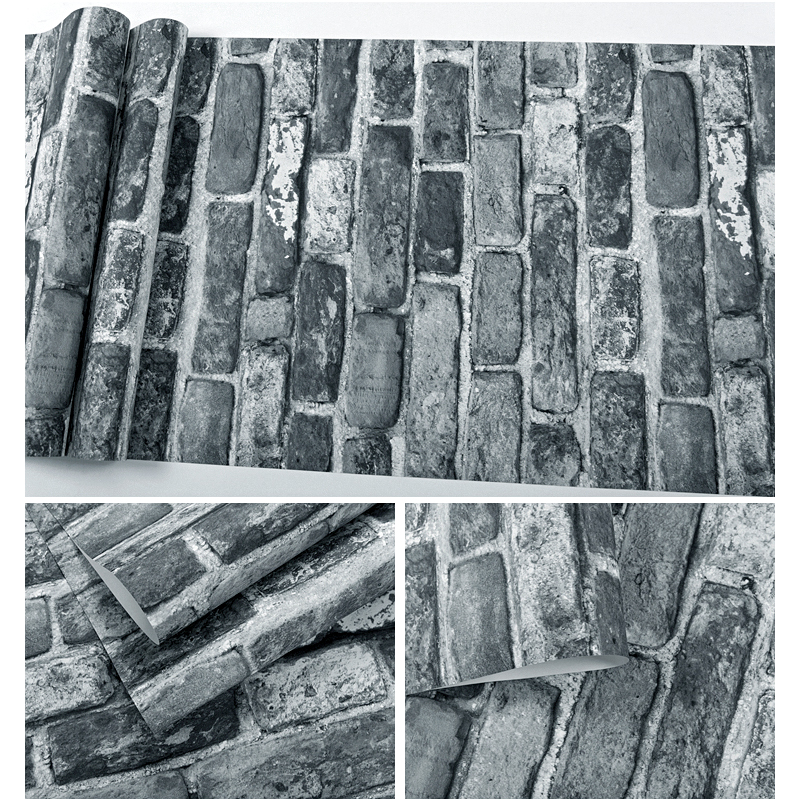 Купить с кэшбэком Vintage Brown Grey Brick Wall Papers Home Decor Wateroproof PVC Wallpaper Roll for Living Room Walls Mural papel pintado pared
