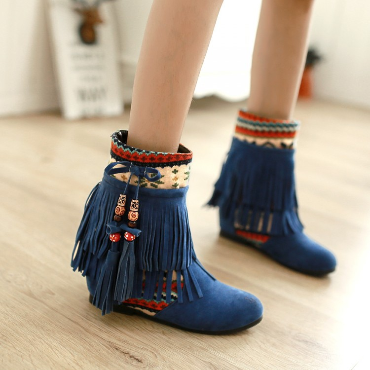 New Fashion flat Heel Black Ankle Women Boots Shoes Beaded Plush Suede Nubuck winter Boot Woman tassel warm snow boots Baok-bd87 black women boots flat heel casual