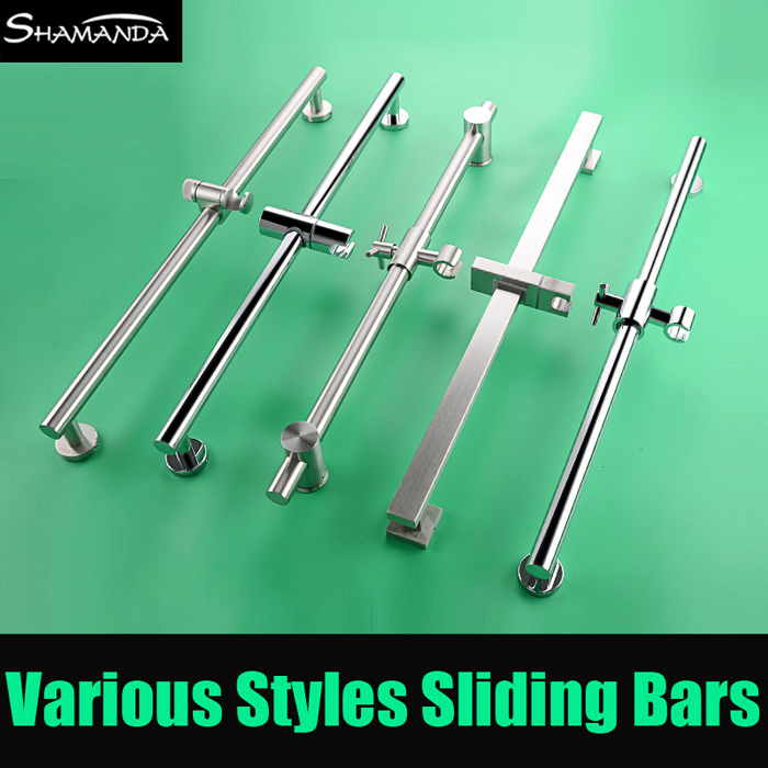 New Free Shipping SUS304 Stainless Steel Thicken Nickel Adjustable Lifting Sliding Bar with Shower Holder Square/Round Style