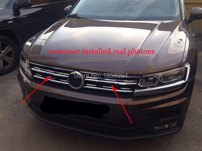 Front Hood Billet Grille Horizontal Sticker Style FOR 2016 2018 VW TIGUAN Mk2 Europe Version
