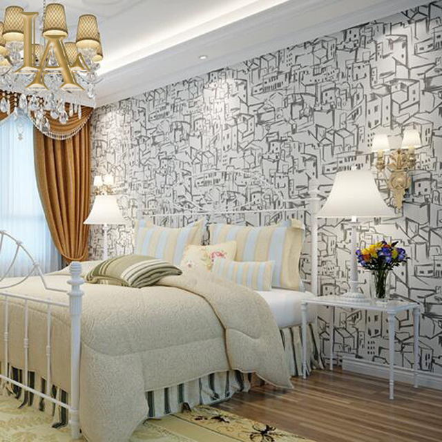 Abstract City Wallpaper Bedroom Living Room Wall Decor Light Grey Beige Dark Blue Cartoon Children