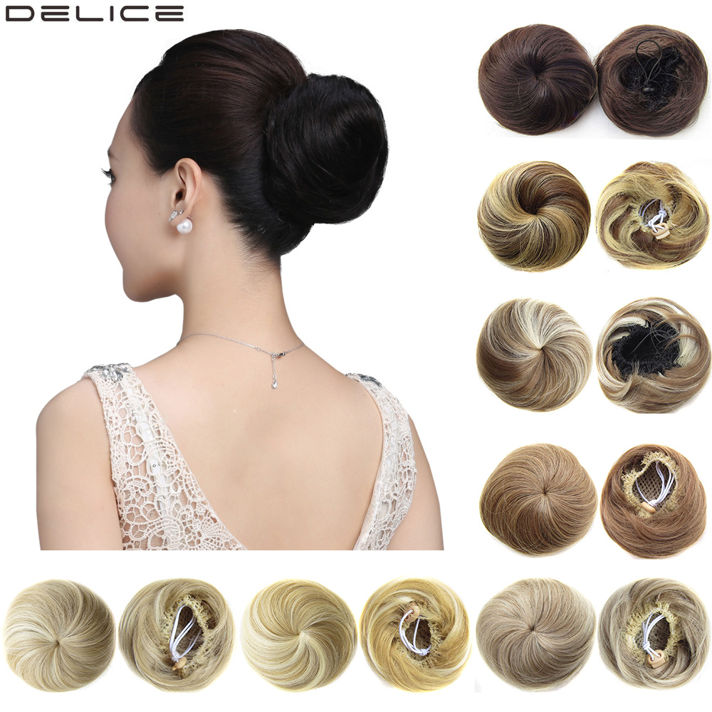 Delice Women's  Synthetic Straight Donut Chignon Elastic Rubber Band Drawstring Clip In Hair Buns Hairpieces