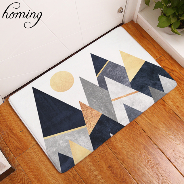Homing Welcome Home Hallway Door Mats Black White Mountain Pattern Rugs  Water Absorption Modern Kitchen Floor