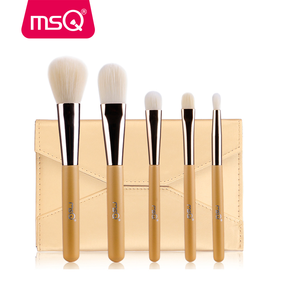 MSQ Makeup Brushes Set Foundation Powder Lip Make-up Travel Make Up Brush Kit With PU Leather Case Cosmetic Brush Tool 10pcs tooth brush shape oval makeup brush set multipurpose makeup brushes professional foundation powder brush kits make up tool