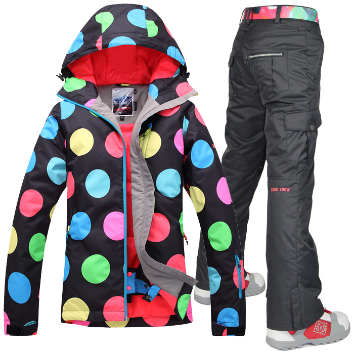 2014 Gsou snow womens ski suit snow suit skiing suit for women black with polka dots jacket and colorful pants waterproof 10K gsou womens winter suit waterproof 10k breathable winter jacket pants women ski suit for mountain skiing and snowboarding sets