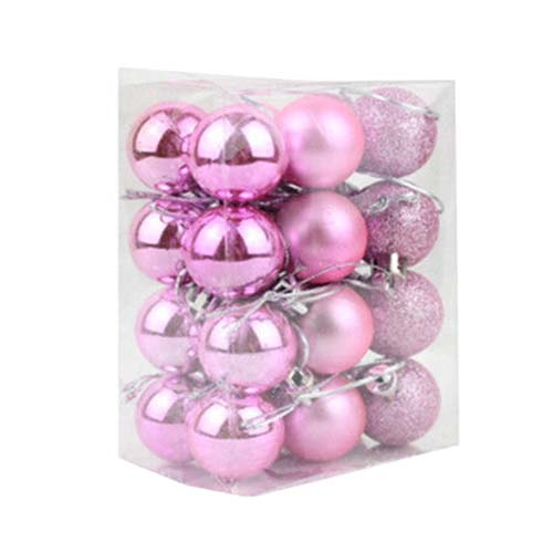 Image 4 - Hot 24Pcs Chic Christmas Baubles Tree Plain Glitter XMAS Ornament Ball Decoration Pink-in Party DIY Decorations from Home & Garden