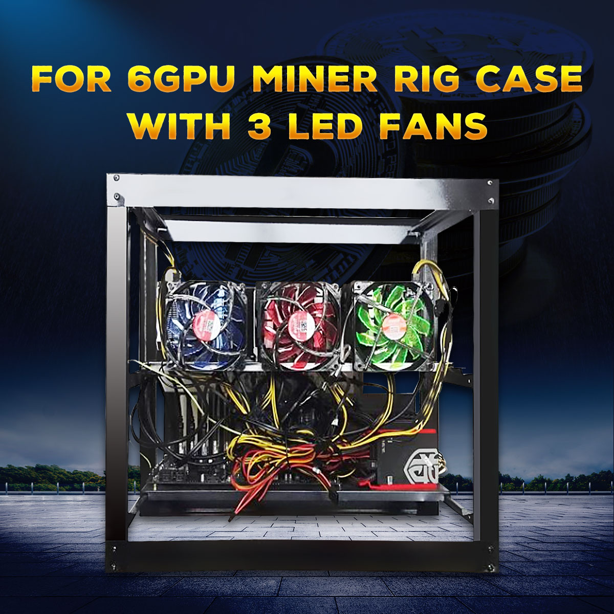 купить New Open Air 6GPU Frame Mining Miner Rig Case with 3 LED Fans for ETH BTC Ethereum DIY Mining Machine по цене 4331.44 рублей