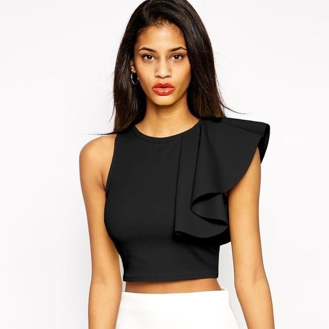 Women Cute T-shirts Summer 2017 New Arrivals Fashion Ruffles Crop Tops Tanks Lady Sexy Off Shoulder Tees Shirt Femme Hot Sale XL