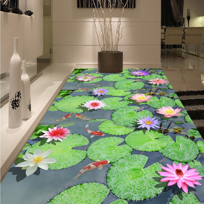 Free Shipping Pond carp lotus Chinese style 3d flooring thickened non-slip bedroom living room bathroom lobby flooring mural цена