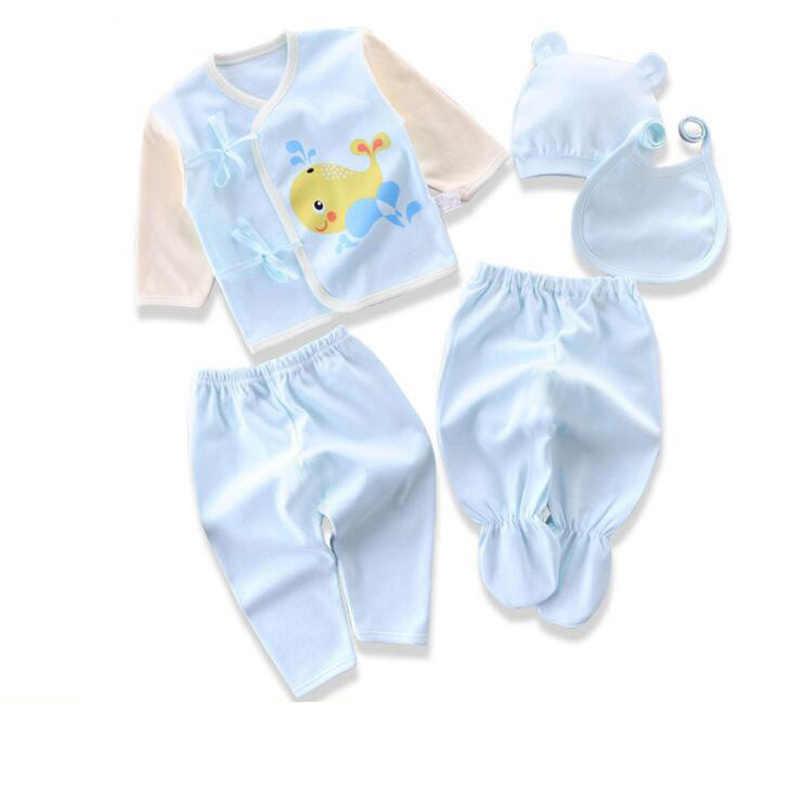 Noworodka garnitury dla dzieci chłopcy dziewczyny ubrania zestawy topy spodnie śliniaki kapelusze dziewczyna odzież zestaw dla dziewczynek strój 5 sztuk/zestaw